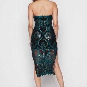 Dresses - Black & Emerald green beaded tube top midi dress